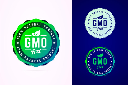 Gmo free vector badge for natural product. 스톡 콘텐츠