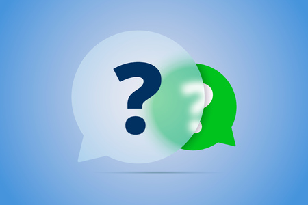 Two Question Marks in Speech Bubbles. Vector illustration for frequency asked questions with blur effect. Çizim