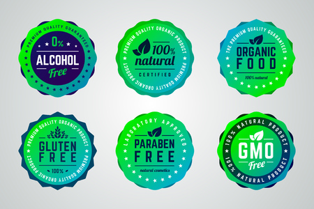 Set of round gradient vector badges. Alcohol free, organic product, 100 percents natural, premium quality, organic food, gluten, gmo, paraben free. Çizim