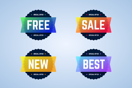 Free, sale, new and best round badges, banners, emblems. Vector emblems for special offers, sales, promotions or discounts. Banners for website and ads.