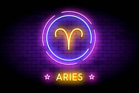 The Aries zodiac symbol, horoscope sign in trendy neon style on a wall.