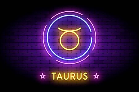 The Taurus zodiac symbol, horoscope sign in trendy neon style on a wall. 向量圖像