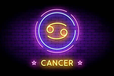 The Cancer zodiac symbol, horoscope sign in trendy neon style on a wall. Illustration
