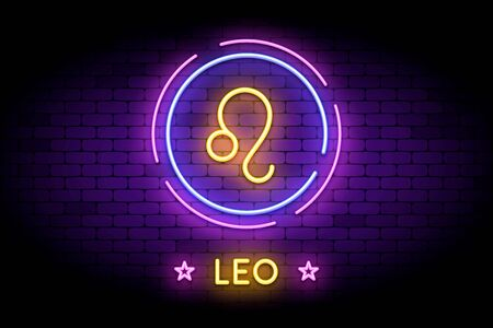 The Leo zodiac symbol, horoscope sign in trendy neon style on a wall. 向量圖像