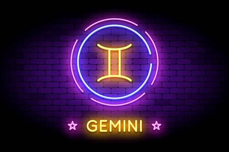 The Gemini zodiac symbol, horoscope sign in trendy neon style on a wall. 向量圖像