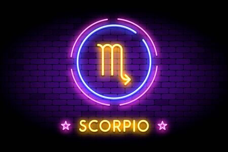 The Scorpio zodiac symbol, horoscope sign in trendy neon style on a wall.