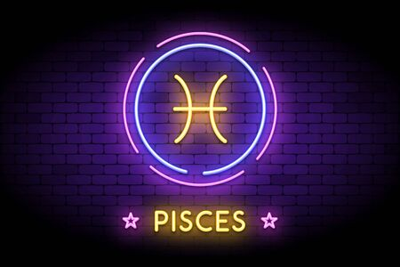 The Pisces zodiac symbol, horoscope sign in trendy neon style on a wall. Pisces astrology sign with light effects for web or print.