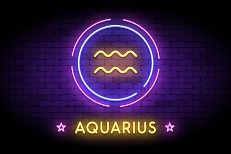 The Aquarius zodiac symbol, horoscope sign in trendy neon style on a wall. Aquarius astrology sign with light effects for web or print.