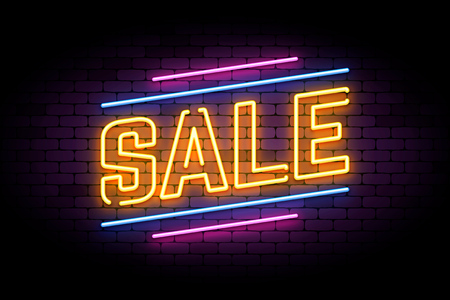 Neon sign in retro style for sale and discount. Vector illustration for product promotions and offers.