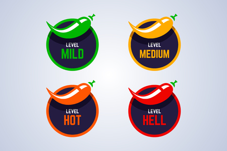 Red hot chili peppers strength indicator. Mild, medium, hot and hell spice level. Vector illustration.
