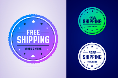 Free shipping label for fast delivery. Round tag for delivery services and online stores. Vector illustration