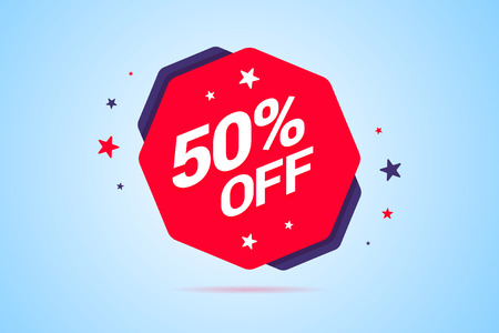 Round discount tag with 50% off text. Label for special offers, discounts, sales and other shop or service promotions. Vector illustration.