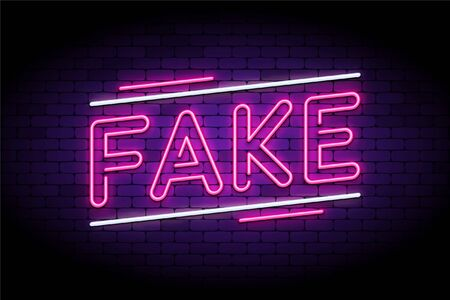 Fake news and false, fraud facts. Neon and glowing letters on a brick wall. Vector illustration to indicate faking stories and articles.