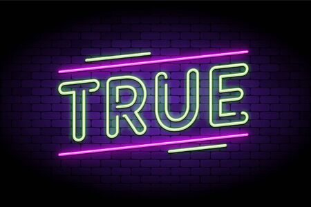 True news and real, honest facts. Neon and glowing letters on a brick wall. Vector illustration to indicate true stories and articles. 向量圖像