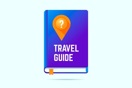 Travel guide book icon with a map pin and question sign. Vector illustration for traveling help.