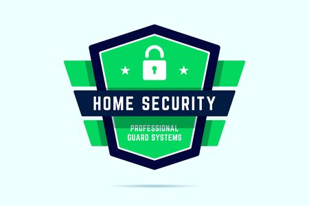 Home security badge. Ultimate protection stamp with shield and geometric wings. Professional guard system. Vector illustration in flat style.