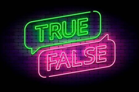 Vrai et faux enseigne au néon avec des bulles sur un mur de briques. Illustration vectorielle pour des faits ou des mythes. Vecteurs
