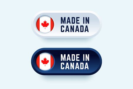 Made in Canada. Vector sign in two color styles with national canadian flag for national products and producers. 向量圖像