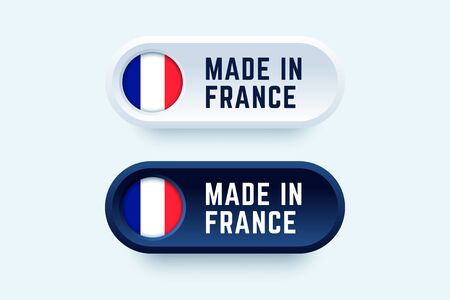 Made in France. Vector sign in two color styles with the national french flag for national products and producers.