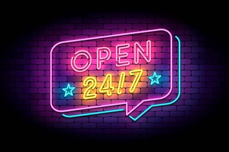 Open 24/7 sign in neon style on a brick wall. Vector illustration with neon letters and speech bubble for shop, services, support and 24 hours clubs.