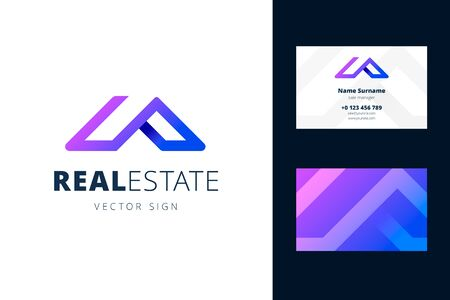 Real estate and business card template. Vector emblem in a modern gradient style for businesses selling homes and apartments.