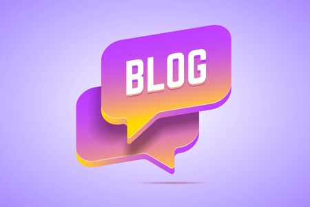 Two speech bubbles in 3d style with gradients that says Blog. Vector illustration for blogging and writing. 版權商用圖片 - 140925363