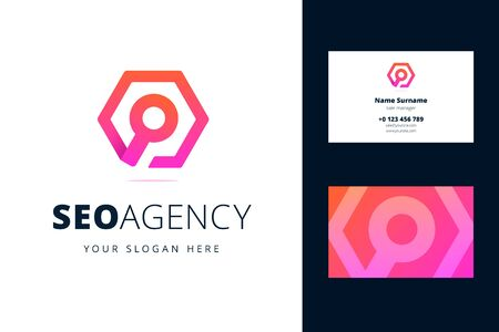 Business card template for seo agency. Magnifying glass sign in a hexagon in origami, line style. Vector illustration for search engine optimization business and marketing.