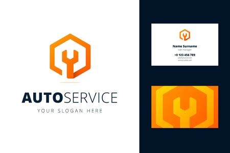 Business card template for auto, repair services, system administrators, car service.s Vector illustration with wrench sign in origami, overlapping style.