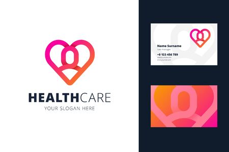 Health care and business card template. Heart and man shapes in origami, line style. for a clinic, medical center, health caring