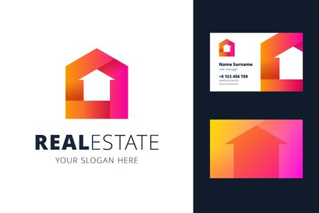 Real estate and business card template. The shape of the house in negative space. Vector illustration for sale, rental houses, buildings, and real estate.