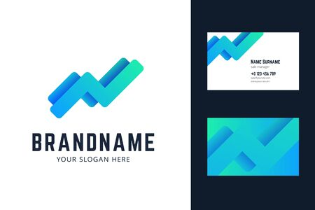 Business card template with growing trend, chart lines. Vector illustration for business and finace. 向量圖像