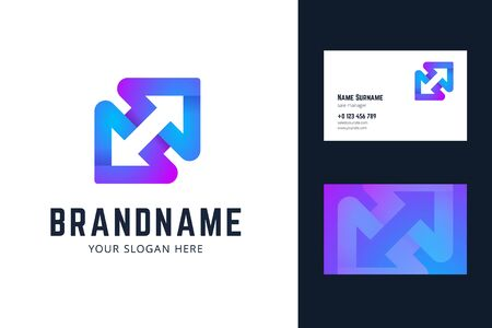 Business card template with two arrows. Vector illlustration in modern gradient, origami style. 版權商用圖片 - 140925330
