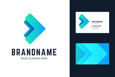 Business card template with two arrows. Vector illlustration in modern gradient, origami style. Ilustração