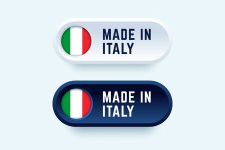 Made in Italy. Vector sign in two color styles with national italian flag for national products and producers. Ilustração