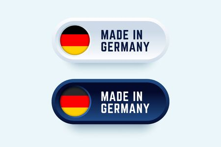 Made in Germany. Vector sign in two color styles with national german flag for national products and producers.