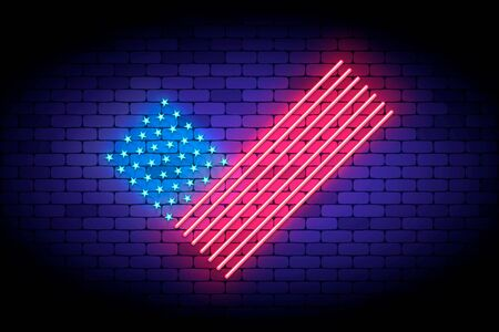 Vote America. Neon vector illustration with united states flag elements for voting on the president election. Glowing neon USA flag like a checkmark.