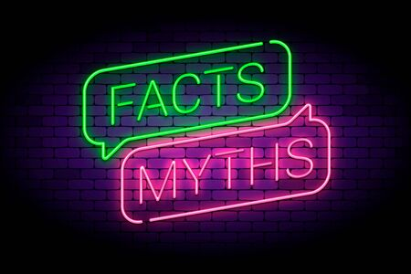 Facts and myths sign in glowing neon style. True or false facts, neon speech bubbles. Vector illustration. Ilustração