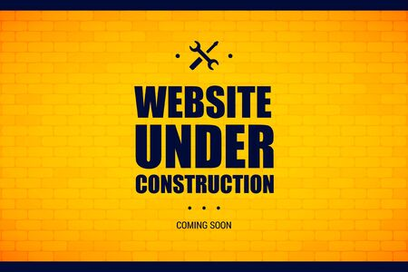 Website under construction sign on a brick wall. Vector illustration for website maintenance and repairing.