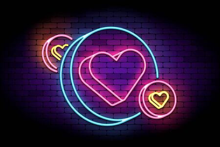 Neon sign with hearts in circles. Vector illustration for social likes, followers. Pseudo 3d heart sign in neon style on a brick wall.