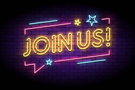 Join us sign in glowing neon style with speech bubble and stars. Vector illustration for follow, join new members in social account. 向量圖像
