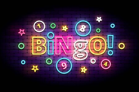Bingo neon sign with lottery balls and stars. Colorful bingo lettering in glowing neon style. Vector illustration for the lottery. 版權商用圖片 - 140925376