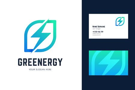 Business card template with leaf and lightning sign. Vector illustration in origami, gradient style for green energy, eco companies. 向量圖像