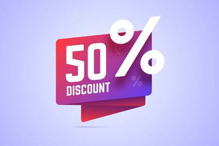 50 percents discount illustration. Gradient origami banner for sale, special offers with discount. Vector illustration for shop promotions.