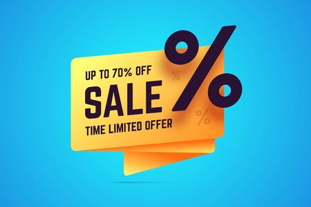 Up to 70 percent off sale. Time limited offer sign in origami, gradient style. Vector illustration for sales, shop promotions, offers and discounts. 向量圖像