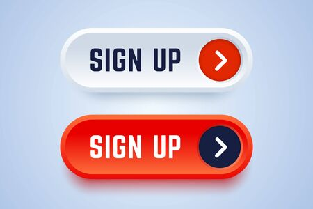 Sign up buttons in 3d style with arrow sign. Red and white buttons to follow and subscribe to news or service. Vector illustration.
