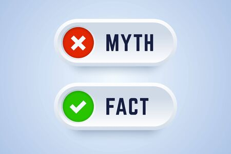 Myth and fact buttons. Banners for true or false facts in 3d style with cross and checkmark symbols. Vector illustration.