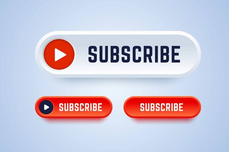 Subscribe button for video service, blog or others. Buttons in different styles with play symbol. Vector illustration to get more subscribers. 版權商用圖片 - 140925384