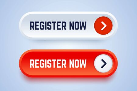 Register now buttons in two options with an arrow. White and red colors. Vector button for registration in services, blogs, websites.