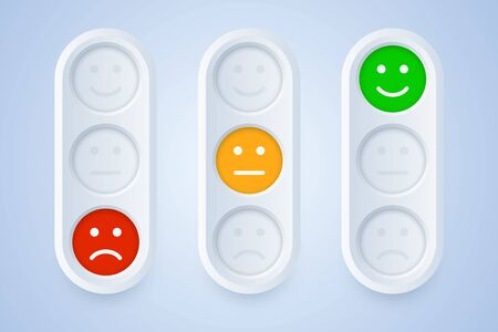 Color emoticons in three color options. Positive, neutral and negative smiles on 3d button. Vector illustration to indicate emotions.