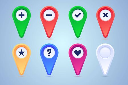 Collection of map pins in different colors and pictograms. Plus, minus, checkmark, cross, star, heart and blank pins. Vector illustration for use in maps.